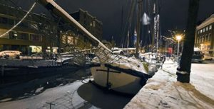 Ships by Night in the Canals of Groningen